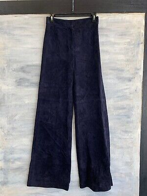 THEORY 'Terena S' High-Waist Wide-Leg LAMB Suede Leather Pants, 0 - Deep Navy