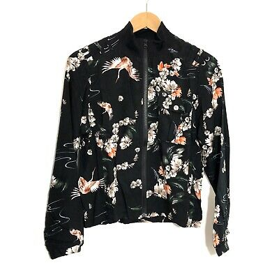 FASHION EMBROIDERED CRANE BIRD FLORAL DOUBLE SIDED BOMBER JACKET MW009047