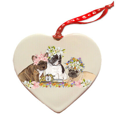 French Bulldog Frenchie Dog Porcelain Floral Heart Shaped Ornament Décor Pet Gif