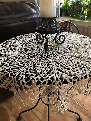 """Vintage EXTRA LARGE Crocheted Tablecloth Doily 35"""""""