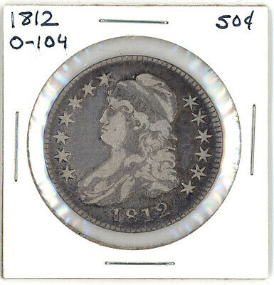 1812 O-104 Capped Bust Half Dollar Rotated Die Error Very Fine+