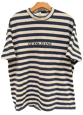 VINTAGE EUC 90's OG Guess Striped T-shirt Navy Blue Made In USA Mens Size XL
