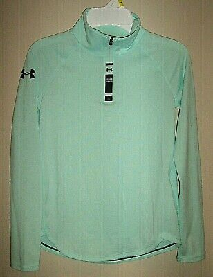 GIRLS sz M UNDER ARMOUR HEAT GEAR L/S 1/4 ZIP TOP SHIRT