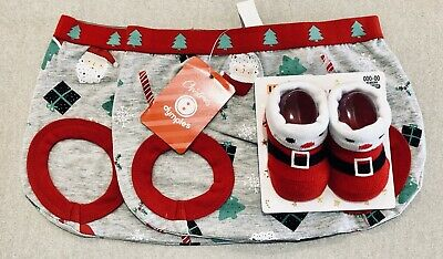 000 - BRAND NEW ITEMS - 2 Nappy Covers / Pants & Cute Pair Of Socks - CHRISTMAS