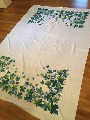 """Vintage Floral Cotton Printed TABLECLOTH-Leaves Blue & Green-82"""" X 60""""-Nice Cond"""