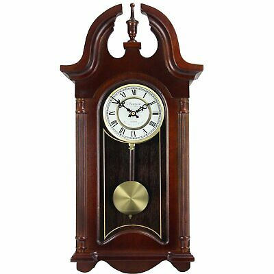 """Bedford Clock Collection 26.5"""" Colonial Mahogany Cherry Oak Finish Chiming Wall"""