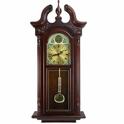 "Bedford Clock Collection 38""Grand Antique Colonial Chiming Wall Clock with Roman"