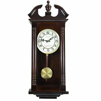 """Bedford Clock Collection 27.5"""" Classic Chiming Wall Clock With Swinging Pendulum"""