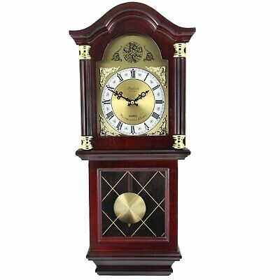 """Bedford Clock Collection 26"""" Antique Mahogany Cherry Oak Chiming Wall Clock with"""