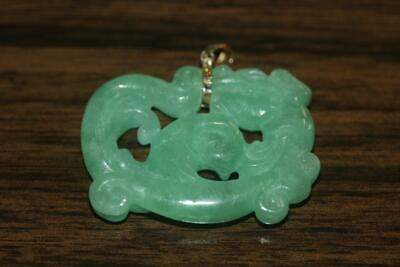 14K Yellow Gold Bale Carved Green Jade Chinese Dragon Pendant Charm Dije