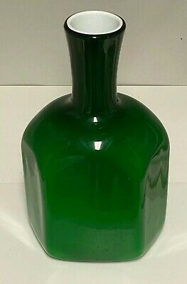 "McM Vtg 1950's Italian Blown Green Cased Milk Glass 14 1/2"" Large Decanter Vase"