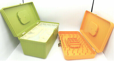 2 Wilson Plastic Sewing Box Thread & Bobbin Tray Vintage Wil-Hold Craft Boxes