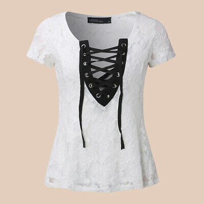 2020 Women Sexy Low Cut Lace Up Top T Shirt Tee Ladies Sheer Floral Lace Blouse