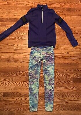 IVIVVA by Lululemon GIRLS LOT 1/4 Zip Glow Go Pullover Top 10 Purple Leggings 8