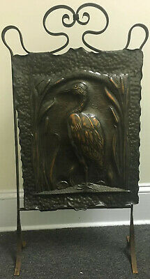 Antique Arts & Crafts Art Nouveau Figural Crane Fire Screen Hammered Copper Iron