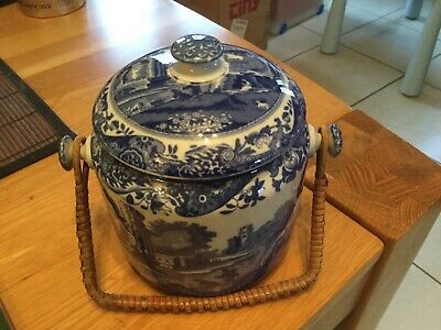Spode Copeland Italian Blue White Cookie Jar /caddy With HandleNo Reserve