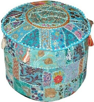 """New 22"""" Indian Embroidered Pouf Ottoman Foot Stool Floor Decorative Pouf Covers"""