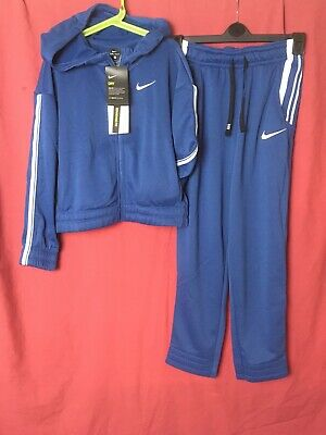 Nike Tracksuit Girls Age 10-12 Years Blue Full Zip Hoodie And Blue Joggers