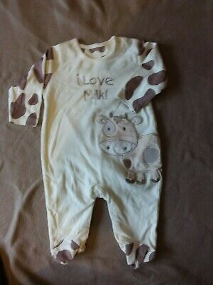 Bnwot - Baby - Cream/Light Brown Moo Cow Patterned Allinone - Age 0-3 Months