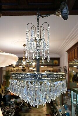 Brass Ceiling Lighting, Antique French Vintage Fitting,Crystal Chandelier Home L