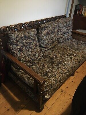 Antique Walnut Bergere Edwardian 3 Seat Sofa And 2 Armchairs