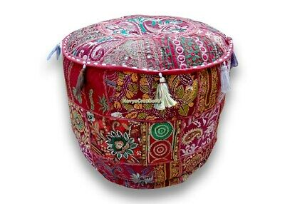 Indian Ethnic Foot Stool Cover Indian Pouf Patchwork Vintage Ottoman Pouf Cover