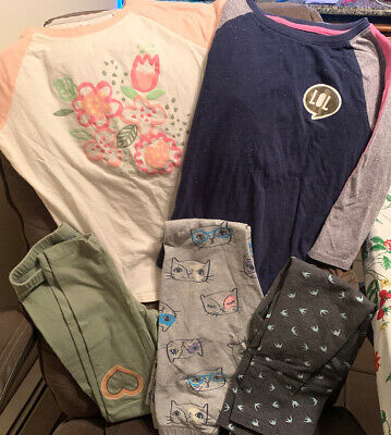 CAT&JACK - 2 Cotton T Shirts & 3 Pr Of Leggings. ALL Size-10-12. EUC.SEE PICTURE