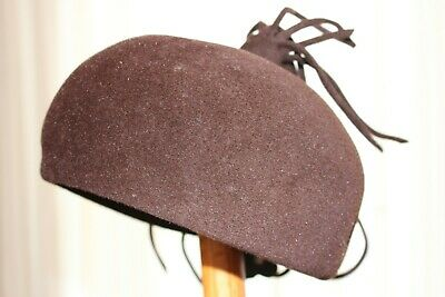 Dark brown felt ladies soft pillbox style hat with tassels, small