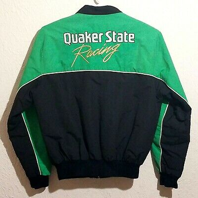 Quaker State Racing Jacket Vintage Black and Green Mens L
