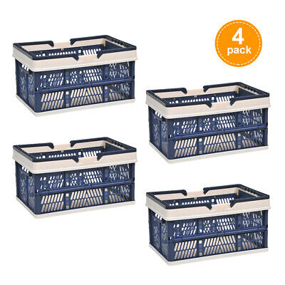 4Pcs Collapsible Plastic Shopping Baskets w/ Handle Containers/Bins Home Grocery