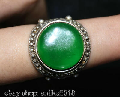 "1.2"" Old Chinese Copper inlay Green Jade Gem Dynasty Palace jewelry Finger Ring"