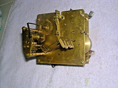 Clock  Parts , Brass  Movement , 5 Hammers  Spares  Or  Repair