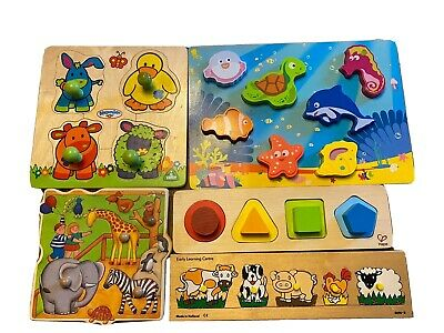 Bundle Of Wooden Baby Toddler Toys Puzzles, Hape ELC