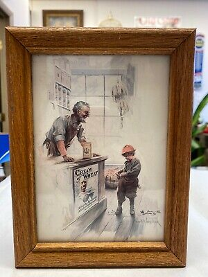 FRAMED CREAM OF WHEAT PRINT CHILD FINANCIALLY EMBARRASSED 5x7