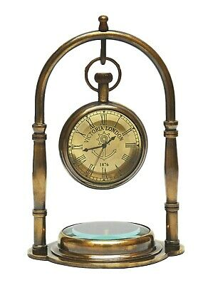 collectible vintage brass antique Desk Clock with fitted compass for office deco