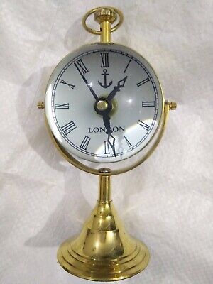 Antique vintage handamde Brass Desk Clock and Compass for home and office decor