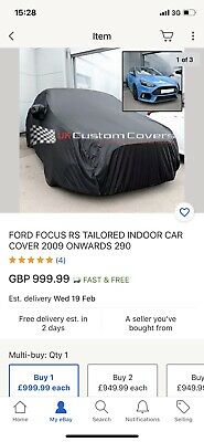 FORD FOCUS RS TAILORED INDOOR CAR COVER 2009 ONWARDS 290