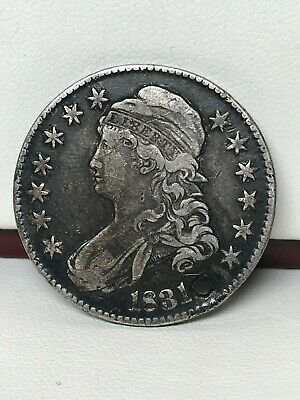 1831 Capped Bust Silver Half Dollar - Vf Details - Holed !