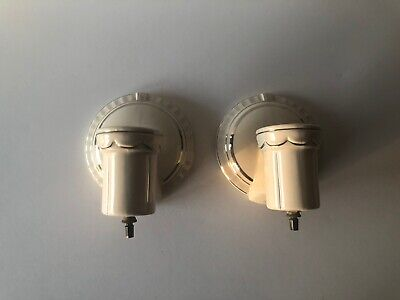Vintage Art Deco Pair Of White Porcelain Wall Sconce Light Fixtures Silver Trim