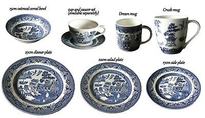 Churchill Blue willow pattern tableware, wide range of products to choose from
