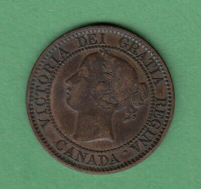 1858 Canadian Large One Cent Coin - VF