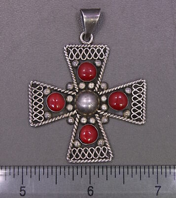 Antique Large Sterling Silver w/ Red Stone Inlay Stylized Cross Pendant