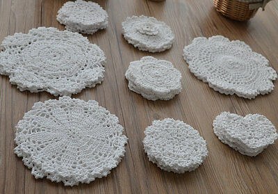 Lot 24 Assorted Hand Crochet White Small Doilies Snowflake Heart Shaped Wedding