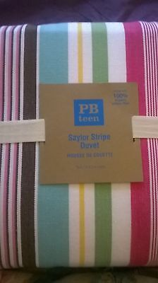 New Pottery Barn Teen thick Saylor Stripe Twin DUVET pbteen girl 100% organic