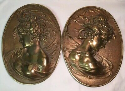 PAIR OF BRADLEY AND HUBBARD BRONZE or BRASS ART NOUVEAU PLAQUES
