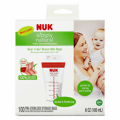 NUK Simply Natural Seal n' Go Breast Milk Bags, 100CT (Outer Box Damaged)