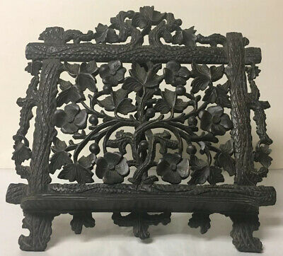 Antique Black Forest Carved Wood Table Top Easel Beautifully Detailed Carving