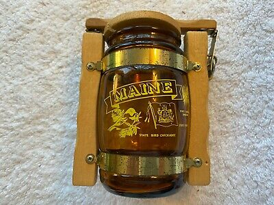 "Vintage State of Maine Glass Barrel Bank with Lock & Keys, 1980's ""Piggy Bank."""