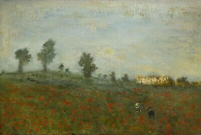 Antique Early 20th Century Figures & Poppies In A Landscape Oil Painting MONET