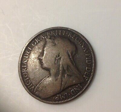 British Large Bronze One  Penny Coin 1896  Queen Victoria Great Britain